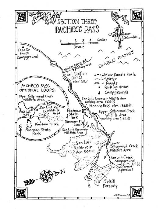 Pacheco California Map.Maps For A Trans California Ramble Re Walking John Muir S 1868 Trip